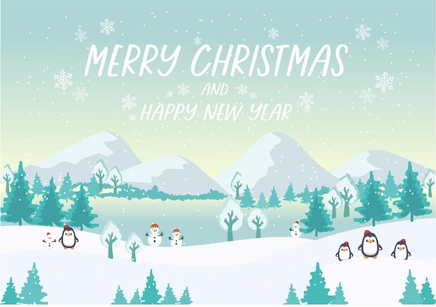 Merry christmas and happy new year winter vector landscape with snow drifts, mountain village, forest, pines, penguin. holiday nature background banner.
