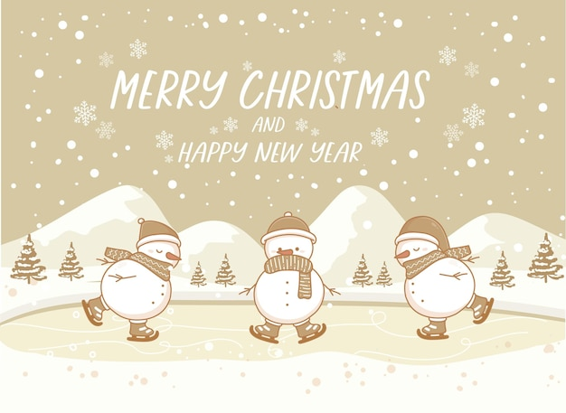 Merry christmas and happy new year winter vector landscape with snowman  ice skating on snow. vintage nature background banner.