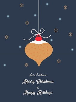 Merry christmas and happy new year wishes greeting card