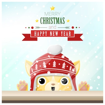 Merry christmas and happy new year with cat