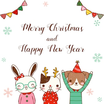 Merry christmas and happy new year with cute animal