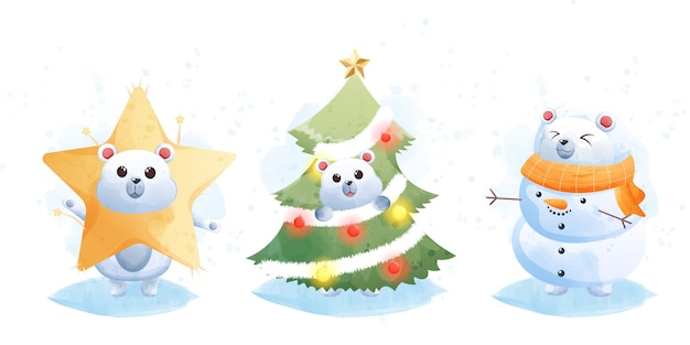 Merry christmas and happy new year with cute polar bear.