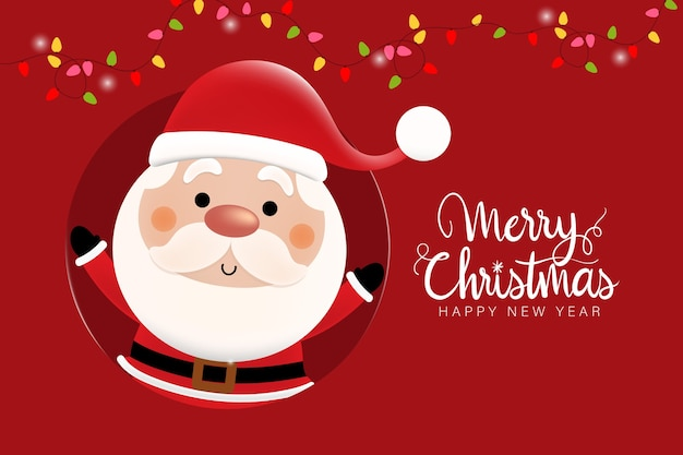 Merry christmas and happy new year with cute santa claus.