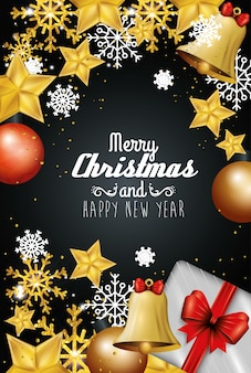 Merry christmas and happy new year with decoration card