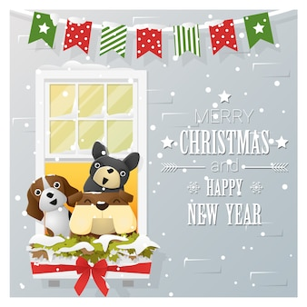 Merry christmas and happy new year with dogs