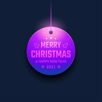 Merry christmas and happy new year with hanging ornaments and neon light color