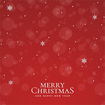 Merry christmas and happy new year with realistic christmas red bokeh background