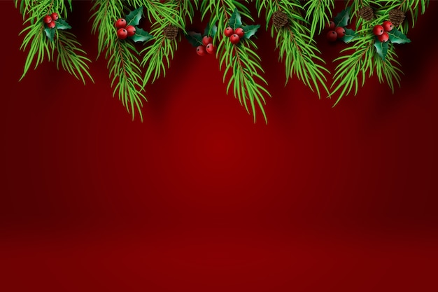 Merry christmas and happy new year with red tone background.