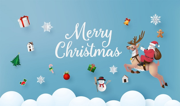 Merry christmas and happy new year with santa claus and raindeer