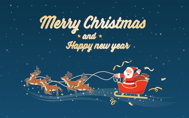 Merry christmas and happy new year with santa claus sleigh