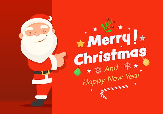 Merry christmas and happy new year with santa claus.