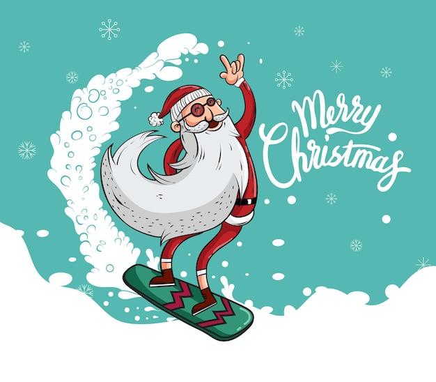 Merry christmas and happy new year with santa claus