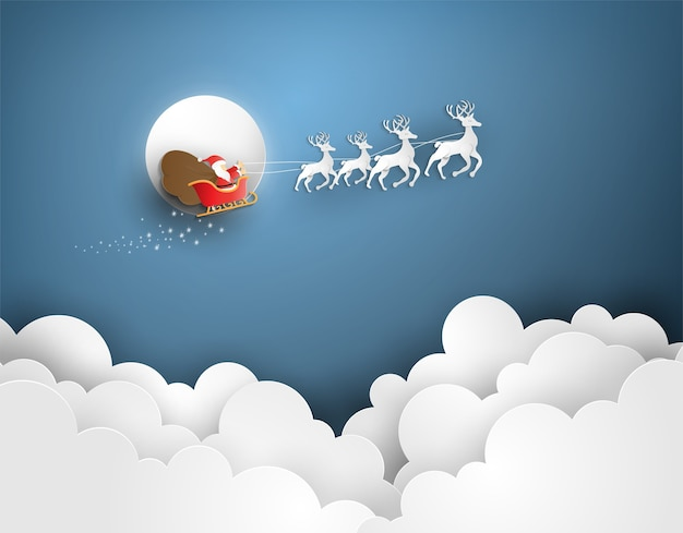 Merry christmas and happy new year with santa on cloud.