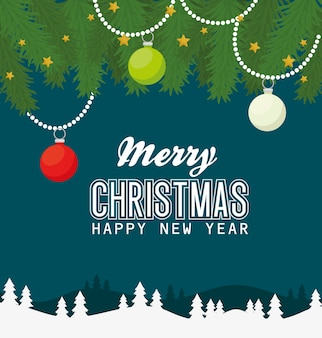 Merry christmas happy new year with spheres stars and leaves design, winter season and decoration