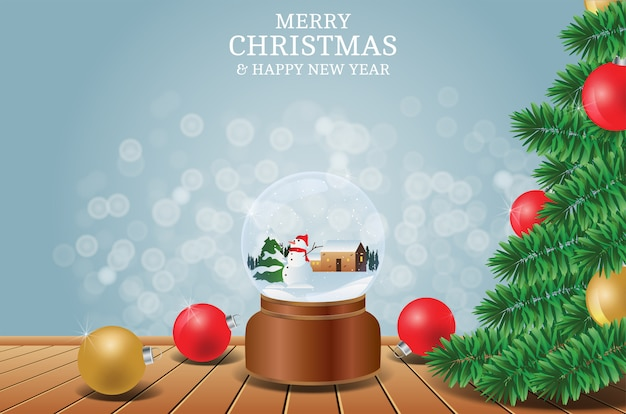 Merry christmas and happy new year with tree and snowman crystal ball background