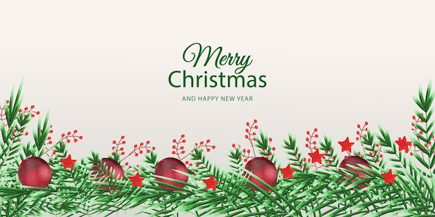 Merry christmas and happy new year with watercolor flower background premium vector