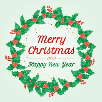 Merry christmas and happy new year wreath greeting card