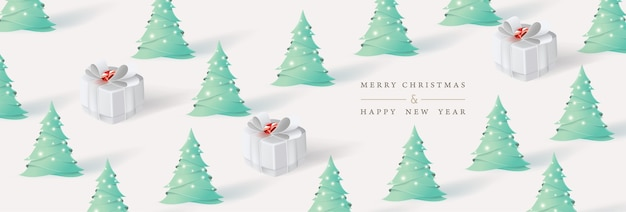 Merry christmas and happy new year. xmas background with christmas tree and gifts box paper art style.