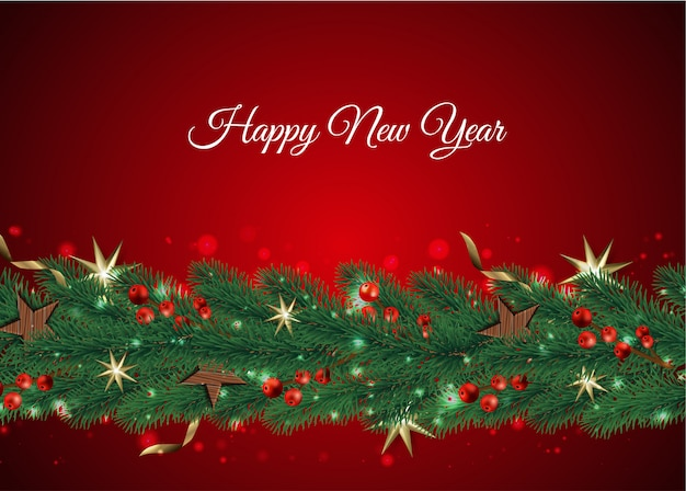 Merry christmas and happy new year, xmas background with gift box, snowflakes and balls design,