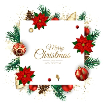 Merry christmas and happy new year. xmas background with poinsettia, snowflakes, star and balls . greeting card, holiday banner, web poster