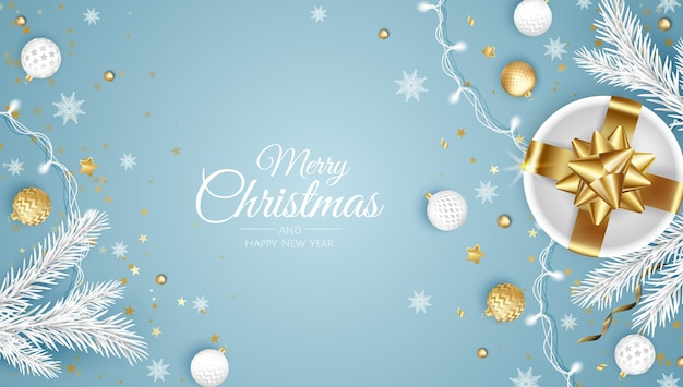 Merry christmas and happy new year. xmas background with present, snowflakes, star and balls . greeting card, holiday banner, web poster