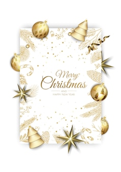 Merry christmas and happy new year. xmas background with shining gold snowflakes. greeting card, holiday banner, web poster.
