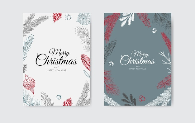 Merry christmas and happy new year. xmas background with winter plants. greeting card, holiday banner, web poster