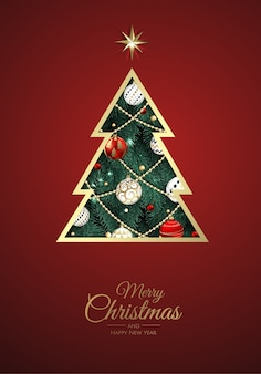 Merry christmas and happy new year. xmas background with xmas tree, snowflakes, star and balls . greeting card, holiday banner, web poster