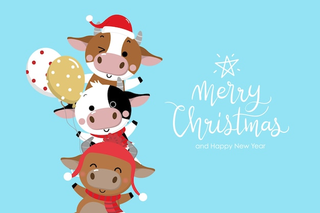 Merry christmas and happy new year . the year of the ox.