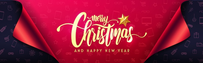 Merry christmas and happy new years banner with gift wrap paper