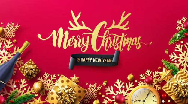 Merry christmas and happy new years red poster with gift box and christmas decoration elements