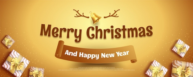 Merry christmas and happy new years with christmas decoration elements