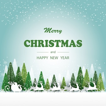 Merry christmas and happy newyear. santa claus and deers running on snow, have green color of trees and snowflake on background,