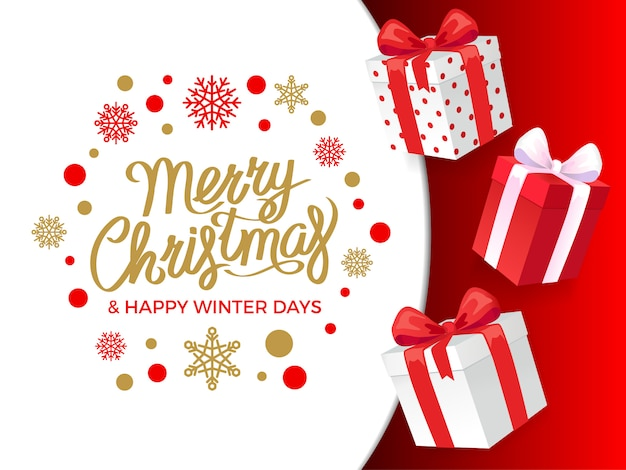 Merry christmas and happy winter days presents banner