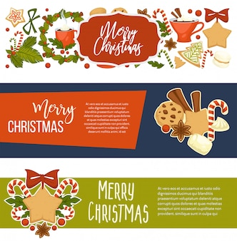 Merry christmas happy winter holiday banners with text