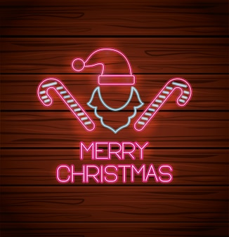Merry christmas hat and canes with neon lights greeting card