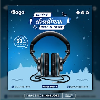 С рождеством христовым брендовый продукт для наушников, шаблон дизайна баннера в социальных сетях или квадратный флаер