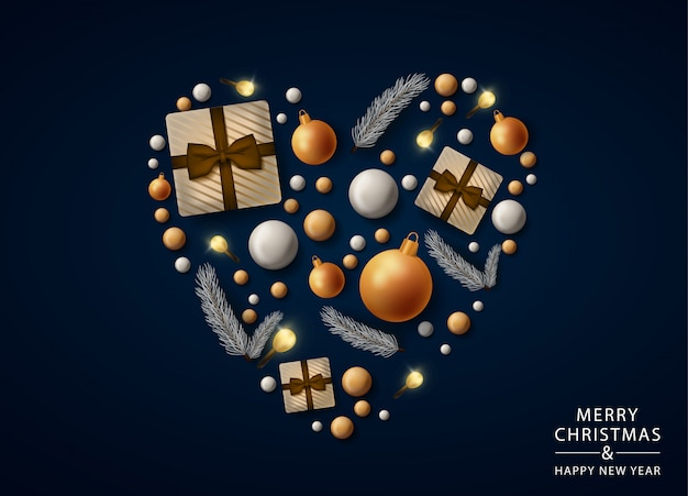 Merry christmas heart greeting card with realistic decorations, balls and gifts