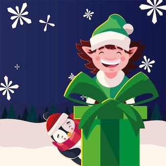 С рождеством христовым помощник и пингвин с подарком на зимнем пейзаже