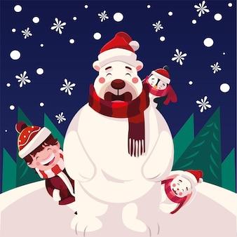 Счастливого рождества помощник полярный медведь, пингвин и кролик в снежном пейзаже Premium векторы