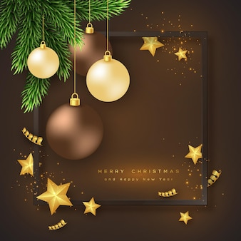 Merry christmas holiday background with bauble, fir-tree and frame. glitter glowing design, black background. vector illustration.