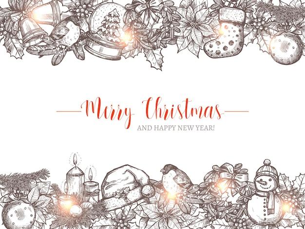 お祝いのスケッチの花輪とボーダーとメリークリスマスの休日の背景。明けましておめでとうございます手描き挨拶イラスト