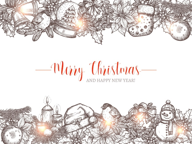 Merry christmas holiday  background with festive sketch garlands and borders. happy new year hand drawn greeting illustration