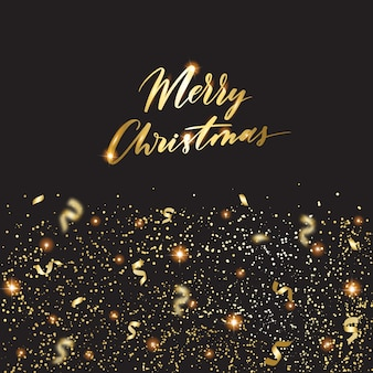 Merry christmas. holiday banner with golden confetti, greeting card. gold christmas poster  vector illustration.