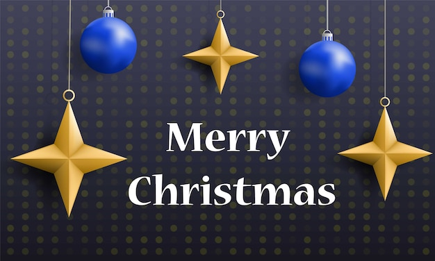 Merry christmas holiday concept banner, realistic style