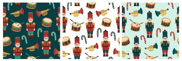 메리 크리스마스 휴가 드럼과 트럼펫 원활한 패턴으로 귀여운 드러머 소년