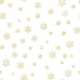 Merry christmas holiday decoration effect. golden snowflake seamless pattern.