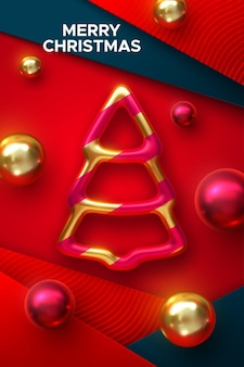 Merry christmas holiday decoration of golden christmas tree bauble with balls on red paper layers