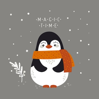 Merry christmas holiday festive illustration with baby penguin in flat cartoon style for greeting card, poster, print