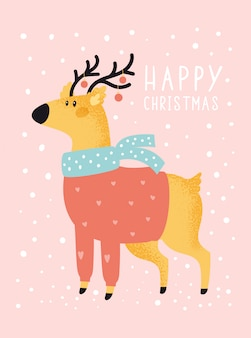 Merry christmas holiday festive illustration with deer in flat cartoon style for greeting card, poster, print